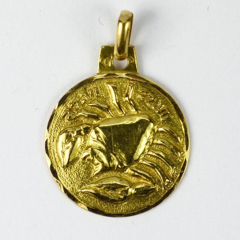 Women's or Men's French 18 Karat Yellow Gold Zodiac Cancer Charm Pendant For Sale