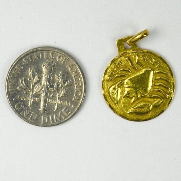 French 18 Karat Yellow Gold Zodiac Cancer Charm Pendant For Sale 2