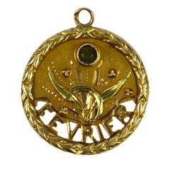 French 18 Karat Yellow Rose Gold February Charm Pendant