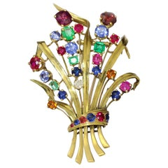 French 18kt Gold Multi-Stone Gold Brooch