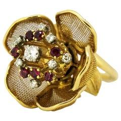 French 18 Karat Yellow Gold Flower Ring Diamonds and Rubies, 1950s