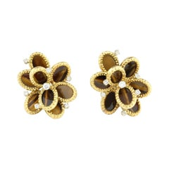 French 18kt Yellow Gold Ladies Earrings with Natural Tiger's Eye and Diamonds
