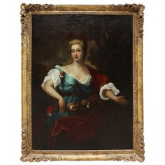 French 18th-19th Century Oil on Canvas Portrait of Lady, after Jean-Marc Nattier