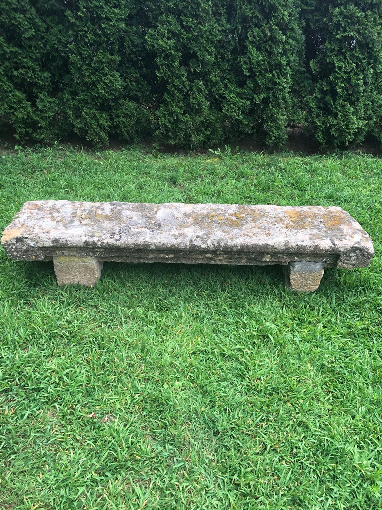Hand-Carved French 18th Century Long Rustic Baux Stone Bench For Sale