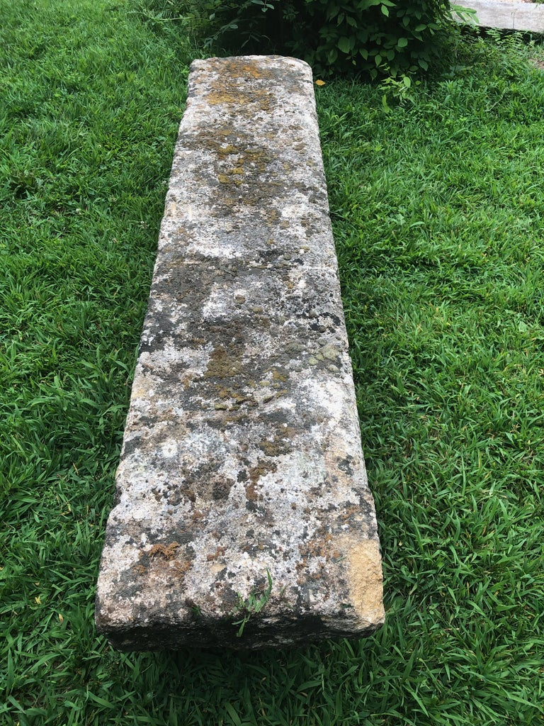French 18th Century Long Rustic Baux Stone Bench For Sale 1