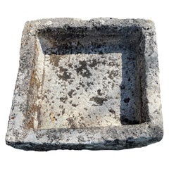 French 18th C Square Hand-Carved Limestone Trough