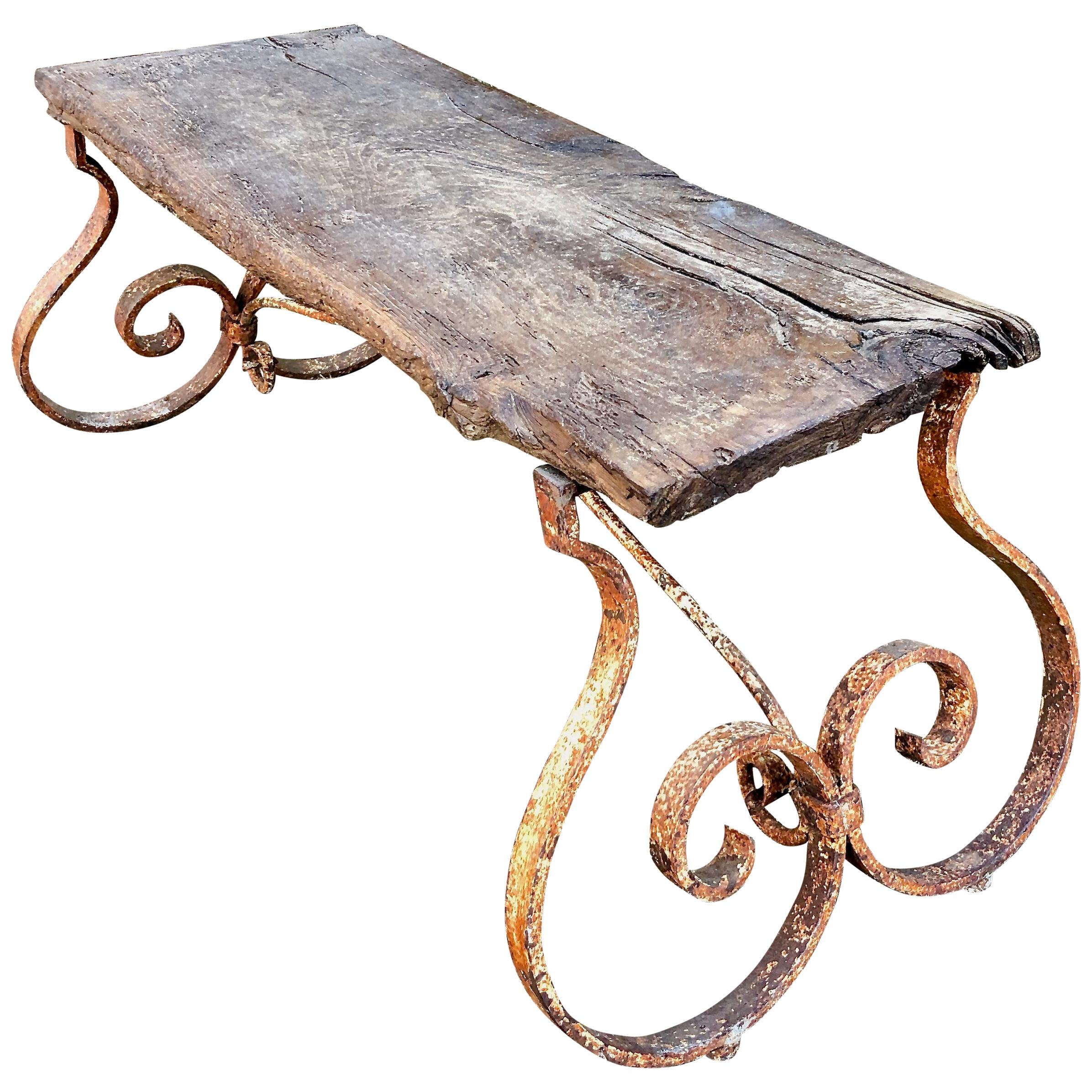 French 18th Century Bench/Coffee Table with Hand Forged Wrought Iron Base