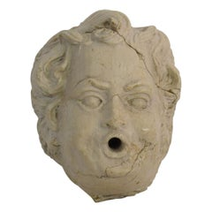 French 18th Century Baroque Carved Stone Fountain Head