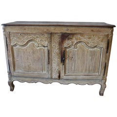 French 18th Century Baroque Commode, European Wooden Buffet with Floral Ornament