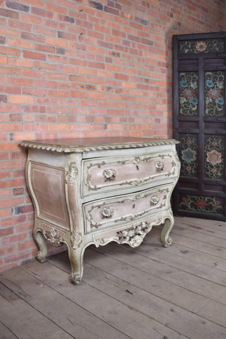 18th Century and Earlier French 18th century Baroque Painted Commode For Sale