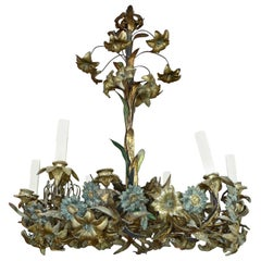 French 18th Century Bronze Chandelier with Painted Leaves and 6 Outer Lights