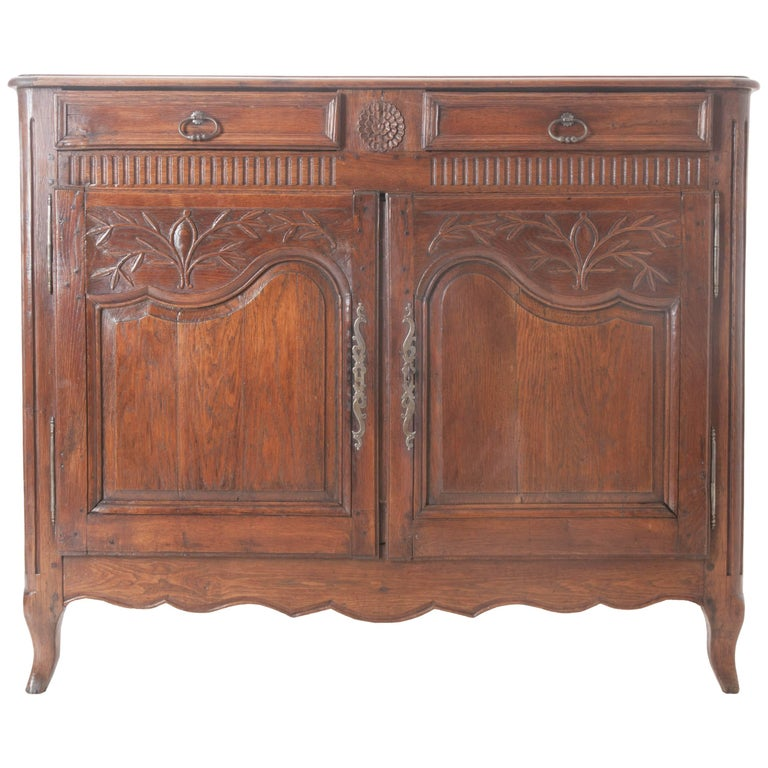 French 18th Century Carved Oak Buffet For Sale