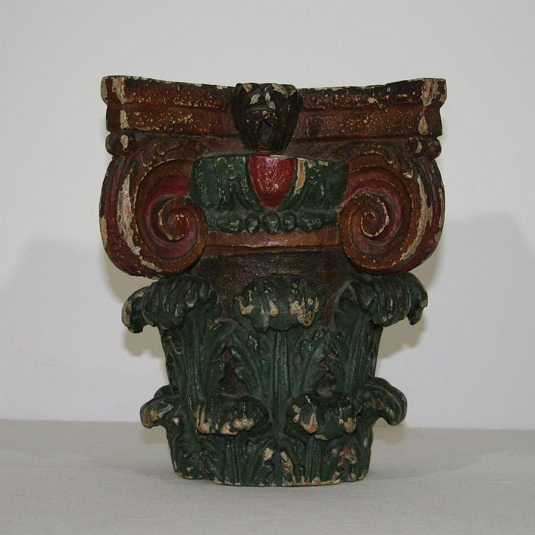 Beautiful French carved and painted capital. Unique find. France, circa 1780. Weathered, small losses.
