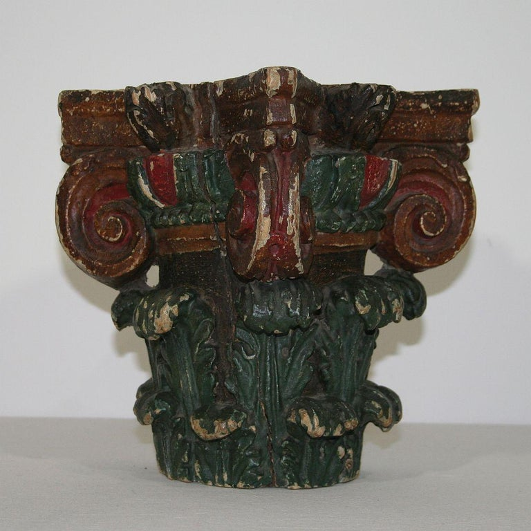 Neoclassical French 18th Century Carved Painted Capital For Sale