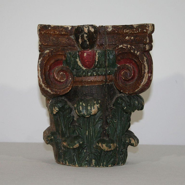 French 18th Century Carved Painted Capital For Sale 1