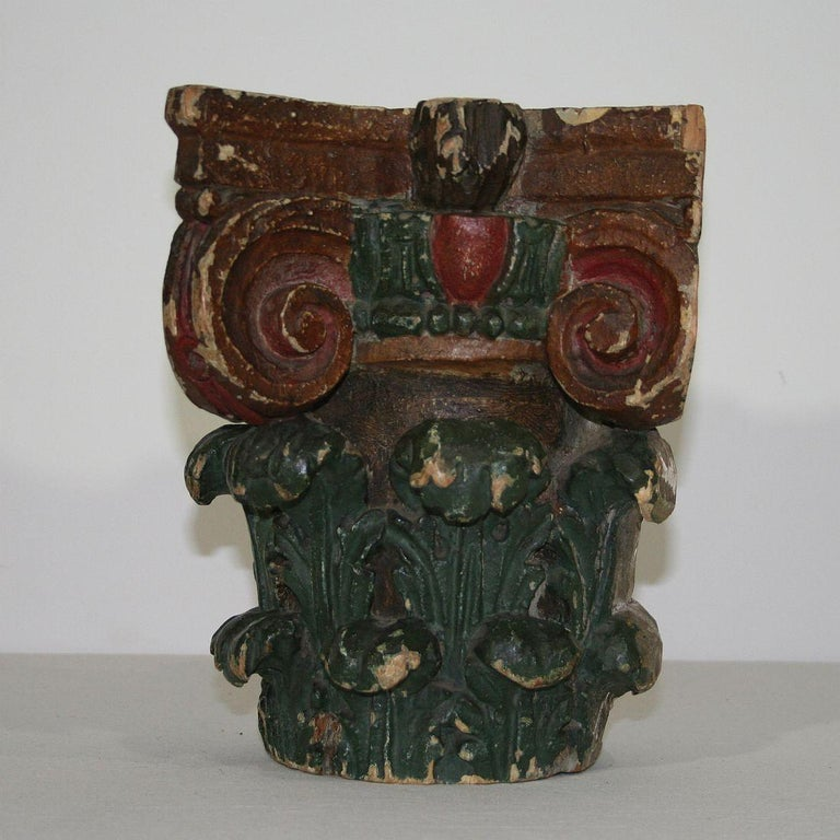 18th Century and Earlier French 18th Century Carved Painted Capital For Sale