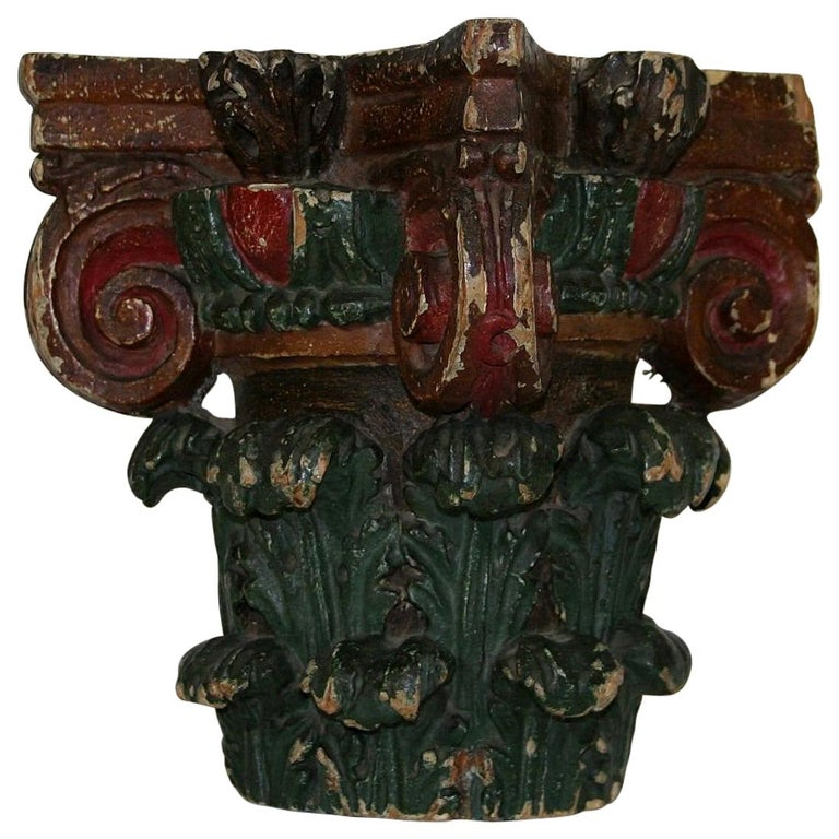 French 18th Century Carved Painted Capital For Sale