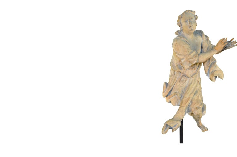 French 18th Century Carved Wood Statue In Good Condition For Sale In Atlanta, GA