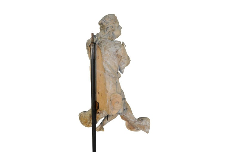 French 18th Century Carved Wood Statue For Sale 2