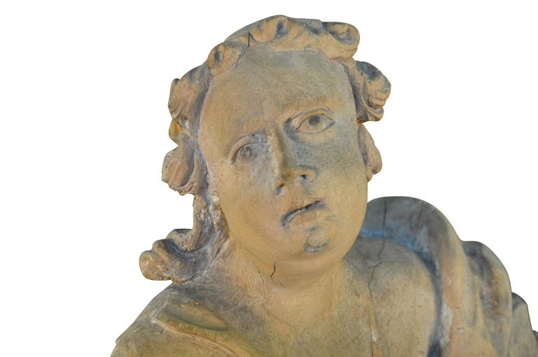 French 18th Century Carved Wood Statue For Sale 3