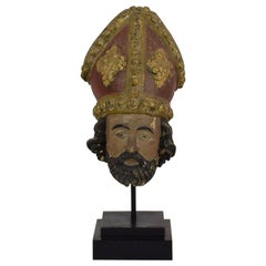 French 18th Century Carved Wooden Head of a Saint