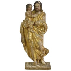 French 18th Century Carved Wooden Statue of Josef with Baby Jesus