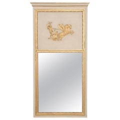 French 18th Century Classicistical Directoire Trumeau/Mirror in White/Gold Paint