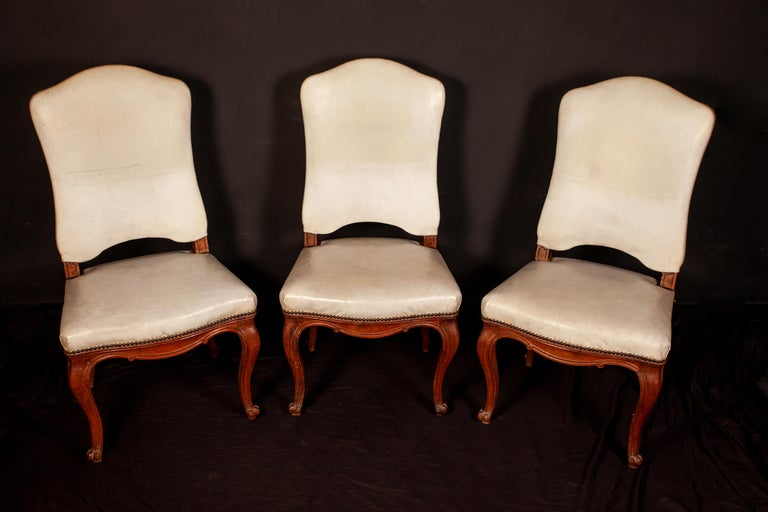 Wood French, 18th Century Dining Room Six Chairs and Two Armchairs, 1760 For Sale