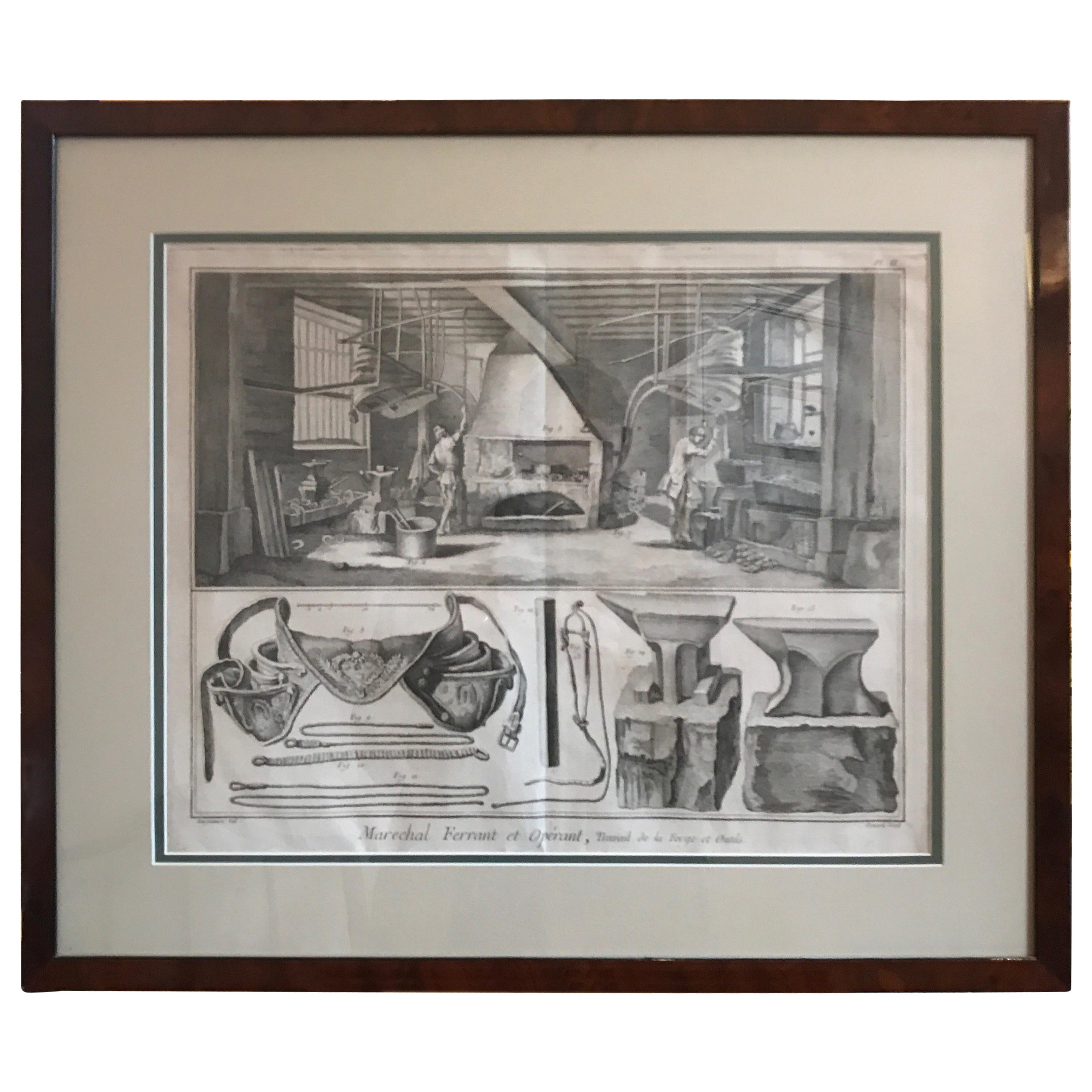 French 18th Century Engraving of the Blacksmiths and their Tools