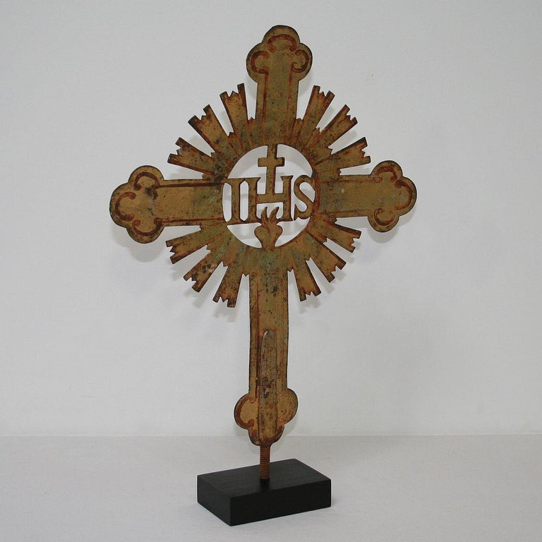 Baroque French 18th Century Forged Iron Processional Cross For Sale