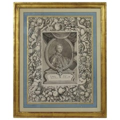 French 18th Century Framed Copper Engraving of Louis XV
