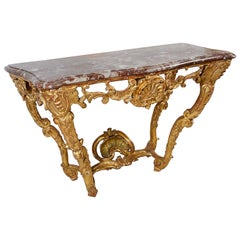 French 18th Century Gilded Console Table