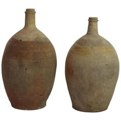 French 18th Century Glazed Earthenware Bottles