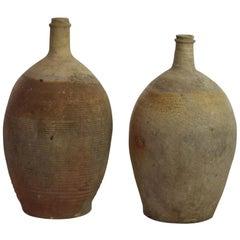 French 18th Century Glazed Earthenware Bottles