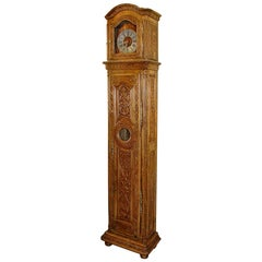 French 18th Century Grandfather Clock in Oak