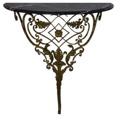 French 18th Century Hand Forged Iron Louis XVI Style Marble-Top Console Table