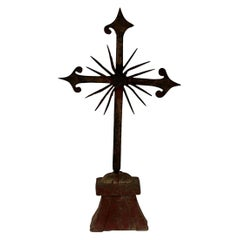 French 18th Century Hand Forged Iron Village Cross