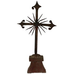 French 18th Century Hand-Forged Iron Village Cross