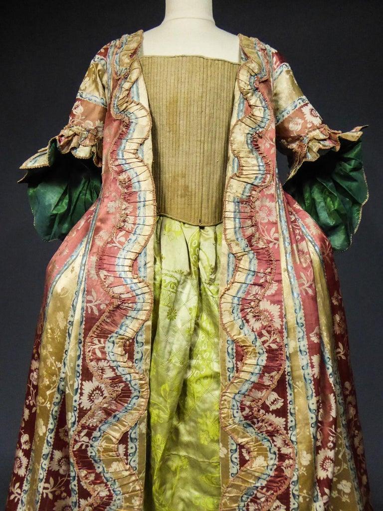 French 18th Century Interior Robe Volante Dress Louis XV Period For Sale 3