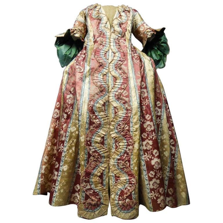 French 18th Century Interior Robe Volante Dress Louis XV Period For Sale