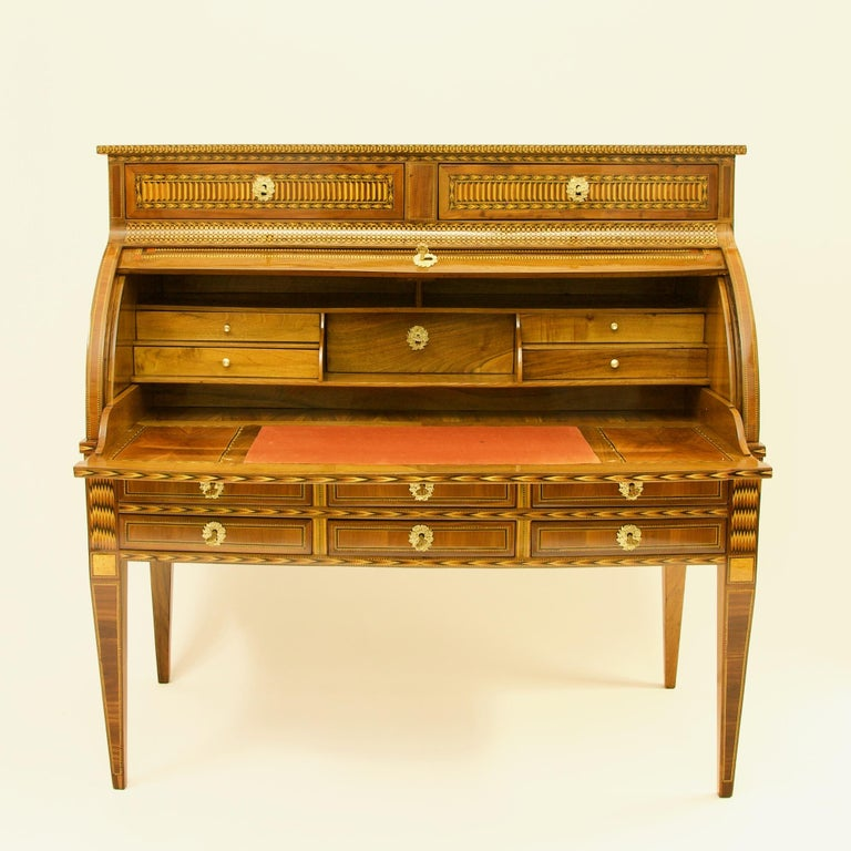 Bronze French 18th Century Large Louis XVI Marquetry Desk or Bureau à Cylindre For Sale