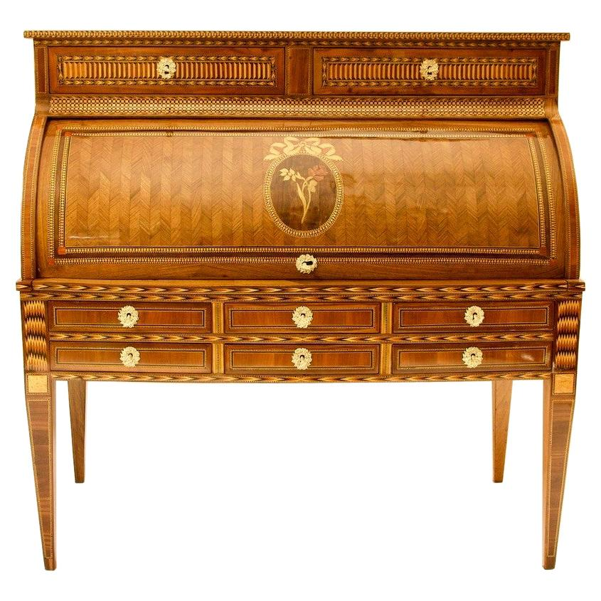 French 18th Century Large Louis XVI Marquetry Desk or Bureau à Cylindre