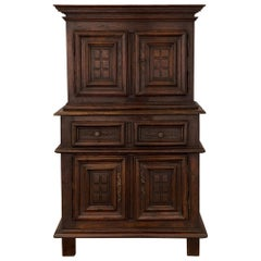 French 18th Century Louis XIII St. Oak Deux Corps Cabinet