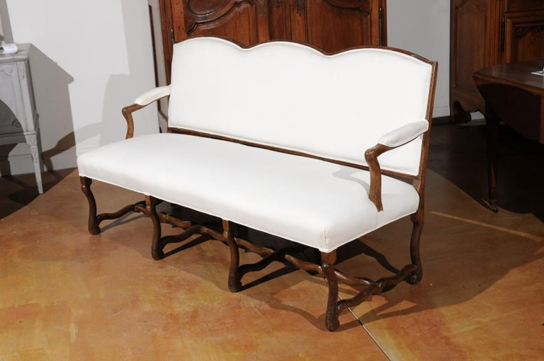 French 18th Century Louis XIII Style Upholstered Canapé with Os de Mouton Base For Sale 7