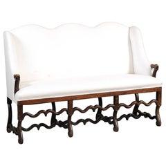 French 18th Century Louis XIV Os de Mouton Walnut Upholstered Canapé à Oreilles