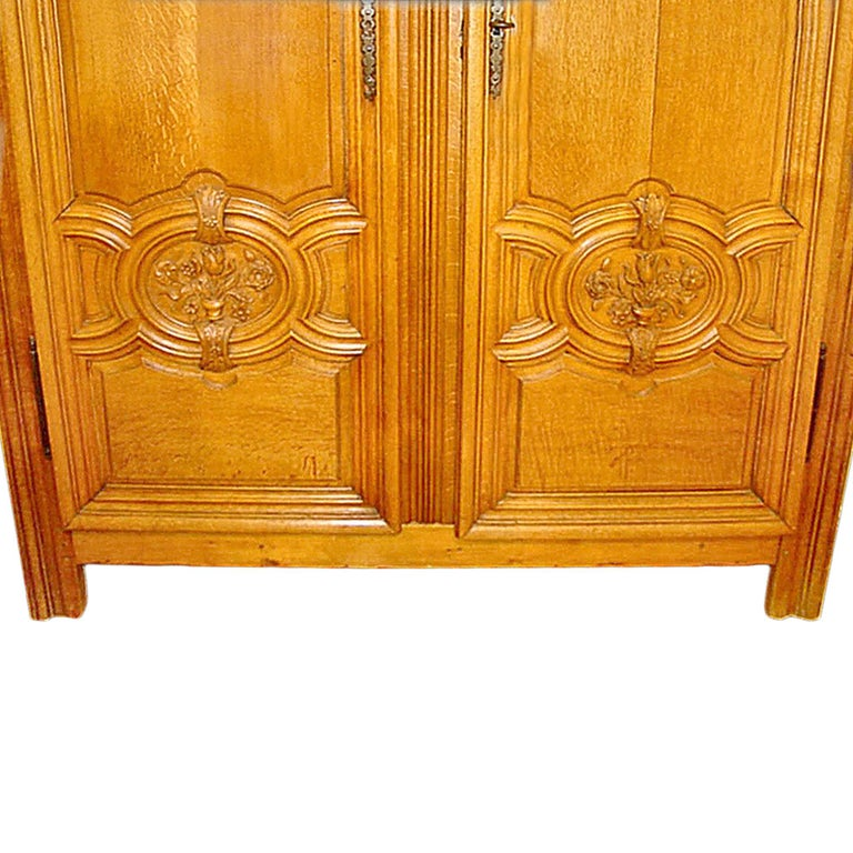 18th Century and Earlier French 18th Century Louis XIV Period Two Door Oak Armoire For Sale