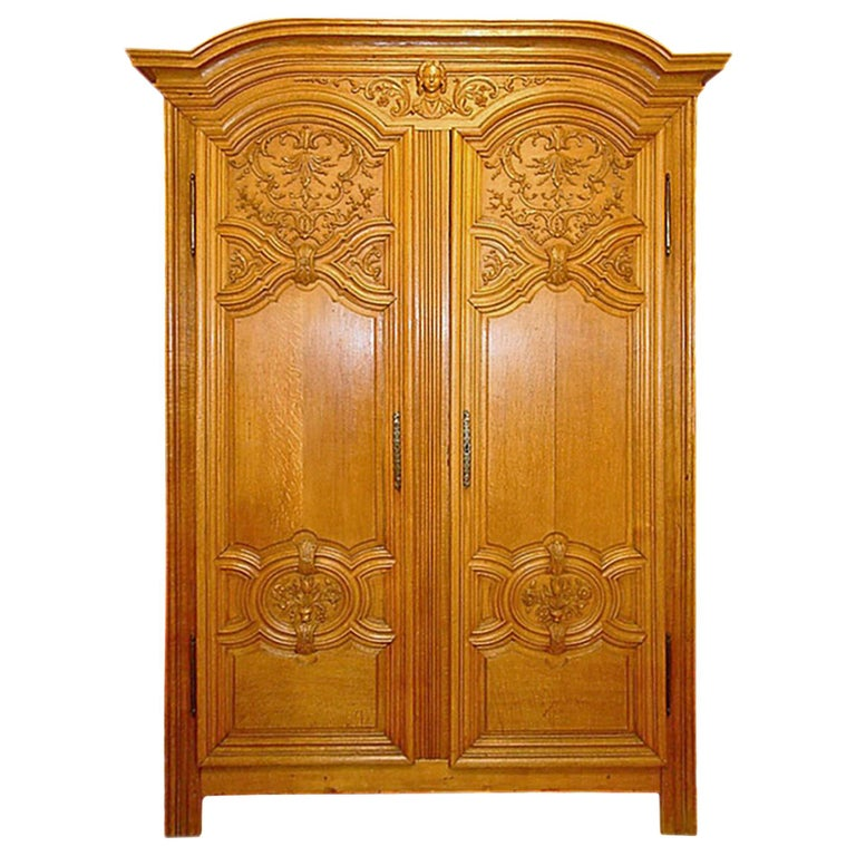 French 18th Century Louis XIV Period Two Door Oak Armoire For Sale