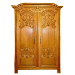 French 18th Century Louis XIV Period Two Door Oak Armoire