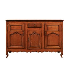 French 18th Century Louis XV Cherry Enfilade with Single Drawer and Three Doors