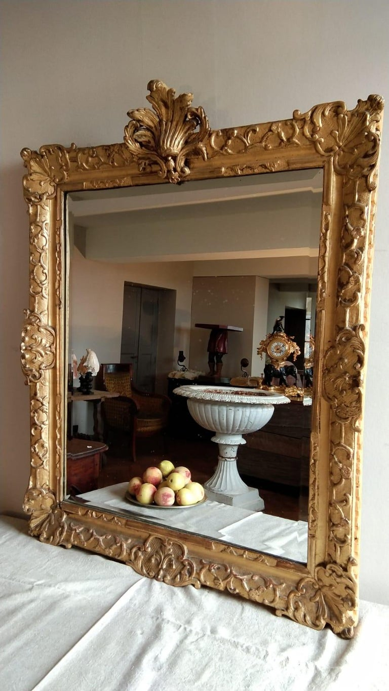 French 18th Century Louis XV Mirro with a large oak wood carved and gilt frame ( 11 cm)